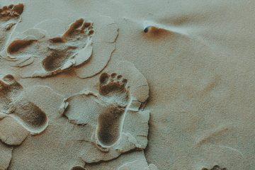 Footprints on a beach